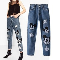 Freeshipping jeans woman jeans 2017 The European and American wind  cute mickey embroidery jeans fashion and personality jeans