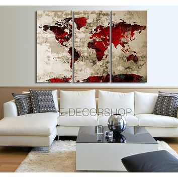 Red Black WORLD MAP Canvas Print on Old Wall Vintage Large Size World Map Canvas Painting