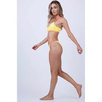 Kata Latin High Cut Bikini Bottom - Mai Tai Coral Pink/Lemon Burst Yellow