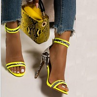 Fashion style high-heeled women's shoes with color matching open-toe sandals