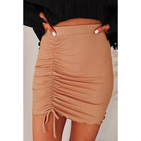 Penny Lane Ribbed Knit Skirt (Toffee)