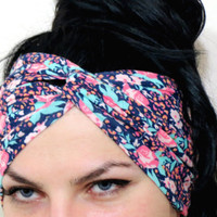 Floral Stretch Twist Head band Multicolor - Turban Wide Hippie Boho Headband head bands Hair Coverings