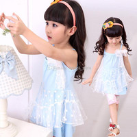 New Girls Baby Summer Suspenders Dot Lace Dress With Stereoscopic Flower 5 pcs/lot Girls Children Fashion Cotton Lace Princess Sundress
