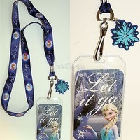 Licensed cool Disney FROZEN ELSA & ANNA LET IT GO SNOWFLAKE CHARM ID Card Pin Holder Lanyard