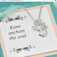 Back To School Sale Anchor Necklace w/giftbox - Sterling Silver Anchor -  Anchor Pendant - Nautical - Anchor Necklace - Inital Charm - Perso