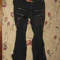 Vintage   Tripp Daang Goodman distressed  Black Punk goth chains  Womens  Bondage Pants Sz 3