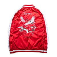 2017 Spring Fashion Jacket Men Crane Embroidery Japanese Clothes For Lovers