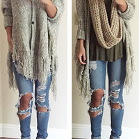 Sweater Winter Knit Tassels Jacket [9535620484]