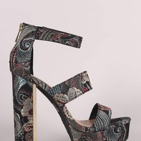 Bamboo Floral Brocade Triple Bands Chunky Platform Heel