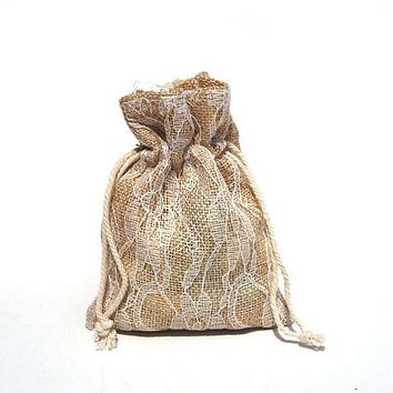 Faux Burlap Bags Lace Overlay, 4-Inch x 5-Inch, 6-Piece, Ivory