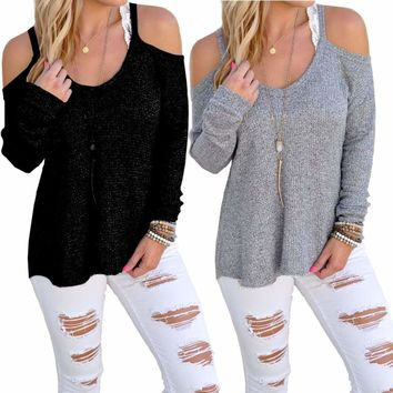 Womens Cut Out Cold Shoulder Jumper Ladies Long Sleeve Casual Top Blouse T Shirt