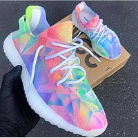 ADIDAS 350 YEEZY BOOST rainbow diamond print shoes colorful shoes
