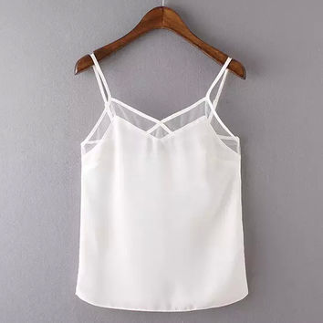 Bralette Comfortable Beach Stylish Hot Summer V-neck Sexy Simple Design Spaghetti Strap Sleeveless Vest [4919452100]