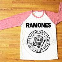 Ramones T-Shirt American Rock Band Punk Rock Shirt Pink Sleeve Tee Shirt Women T-Shirt Men T-Shirt Unisex T-Shirt Baseball Tee Shirt S,M,L
