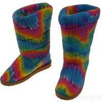 Melissa & Doug Boot Slippers Rainbow Girls Large Size 4-6.5 Tie Dye Colors Plush