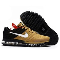Nike Air Max Classic Popular Women Men Casual Sport Shock Absorption Shoes Sneakers Golden I/A
