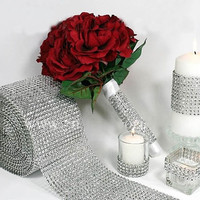 Silver Wedding Bridal Bouquet Wrap Ribbon 1 Roll Sparkle Diamond Mesh Wrap  (Color: Silver) = 1932387332