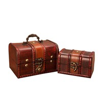 2Pcs Wooden Pirate Jewellery Storage Box Case Holder Vintage Metal Lock Jewelry Treasure Chest Handmade Wood Organizer Box