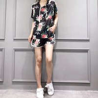 """Adidas "" Women Casual Fashion Flower Letter Print Mesh Hooded Short Sleeve Shorts Set Two-Piece Sportswear"