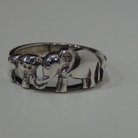 Sterling Silver 925 Elephant Band Ring