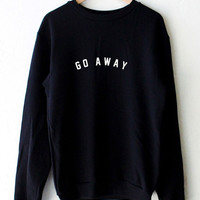 Black GO AWAY Letters Printed Long Sleeve Casual  Plus Size Sweatshirts