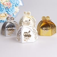 Big Heard Love 25pcs Love Heart And Flower Wedding Favors Box Candy Box Gift Box Chocolate box Wedding Decoration Supplies