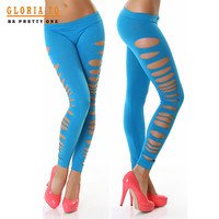 Opaque Good Strech Black Big Sexy Ripped Leggings Low Waist Skinny Pants 6 Colors 60185 SM6