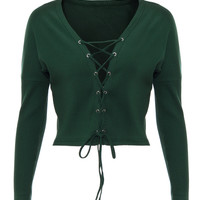 Green Plunge Neck Lace Up Front Knit Cropped Jumper