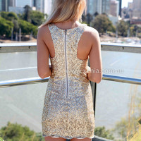 BRIGHT AT YOU DRESS , DRESSES, TOPS, BOTTOMS, JACKETS & JUMPERS, ACCESSORIES, 50% OFF , PRE ORDER, NEW ARRIVALS, PLAYSUIT, COLOUR, GIFT VOUCHER,,Sequin,Gold,BODYCON,SLEEVELESS,MINI Australia, Queensland, Brisbane