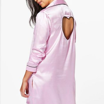 Boutique Penny Satin Cut Out Heart Button Night Shirt | Boohoo
