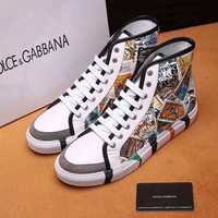 D&G Dolce&Gabbana Men's Leather Fashion High Top Sneakers Shoes