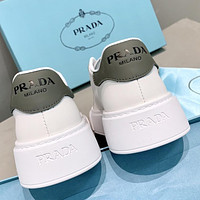 Prada new products womens thick-soled stitching color casual white shoes sneakers Dark Gray