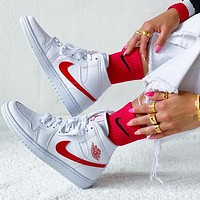 NIKE  Air Jordan 1 MID AJ1 White and red mid top casual basketball shoes