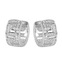 Sterling Silver Rhodium Plated Maze Hoop Earrings