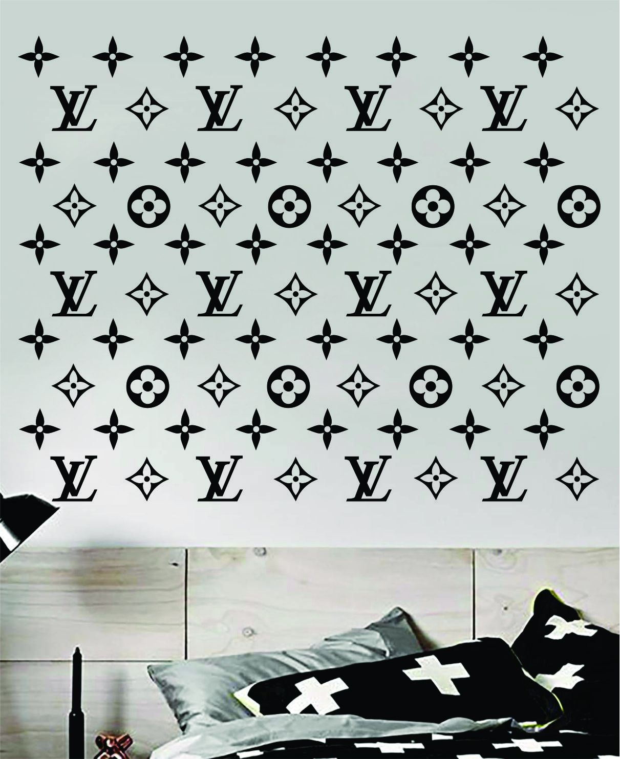 Image of Louis Vuitton Logo Pattern Wall Decal Home Decor Bedroom Room Vinyl Sticker Art Quote Designer Brand Luxury Girls Cute Expensive LV
