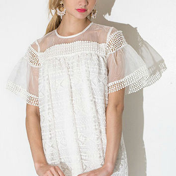 White Short Sleeve Lace Dress