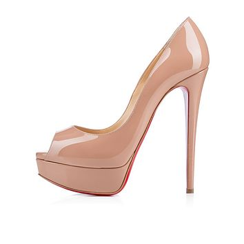 Christian Louboutin Cl Lady Peep Nude Patent Leather 150mm Stiletto Heel Classic -