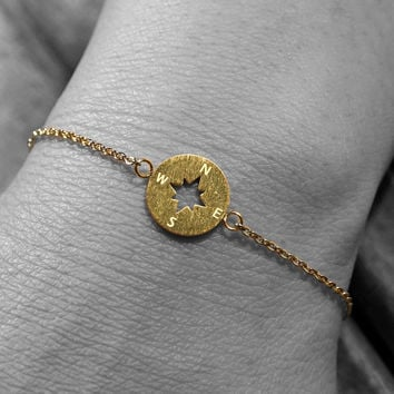 Gold, rose gold or silver plated stainless steel compass bracelet