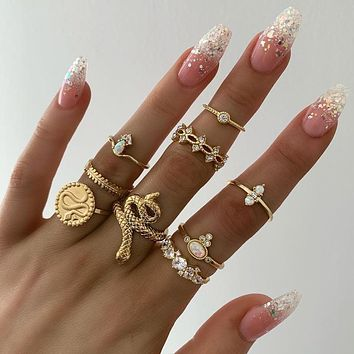 9pcs/sets Luxurious Gold Rings for Women Hard Clear Crystal Stone Snake Hollow Round Geometric Jewelry