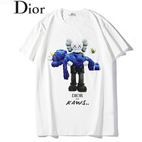 DIOR Fashion Women Men Casual Cute Print Short Sleeve Cotton T-Shirt Top White
