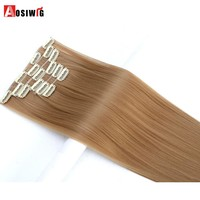 AOSIWIG 6Pcs Long 24 inches Striaght Real Thick Full Head Clip in on Hair Extensions Natural Synthetic Hairpieces for human