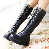 Knee High Lace Up Boots by Only True Love