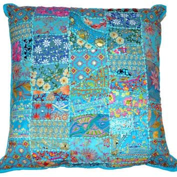 """24"""" Decorative Vintage patchwork Throw pillow, Indian ethnic couch pillow, Embroidered Cushion Cover, Outdoor Cottage Pillow, Tribal Pillow"""