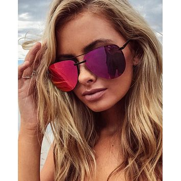 Quay Australia - The Playa 64mm Aviator Sunglasses in Black/Pink