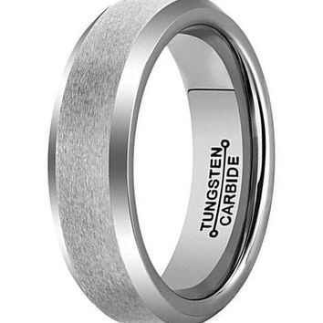 CERTIFIED 6mm Silver Tungsten Carbide Ring Simple Style Wedding Engagement  Band