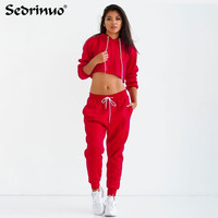 2017 Casual Women Sexy Club Jumpsuits romper 2 Piece Set Crop Top Long Sleeve Playsuit Loose bodycon Jumpsuit Red Black Bodysuit