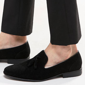 Men velvet loafers black large size luxury brand suede leather men tassel penny loafers moccasins slip ons casual smoking shoes