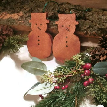 Snowman Ornaments -  Wood Set of two - Ready to ship