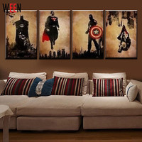 4 Pieces Superhero Hand Painted Canvas Oil Paintings Modern Abstract Wall Decor Art Cuadros Decorativos Canvas Pictures