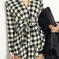 'The Stacy'  Long Sleeve Grid Pattern BeltedCardigan